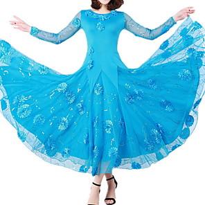 cheap Ballroom Dancewear-Ballroom Dance Dress Lace Appliques Women's Training Performance Long Sleeve Polyester