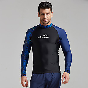 cheap Wetsuits, Diving Suits & Rash Guard Shirts-Men's Rash Guard Elastane Top Breathable Quick Dry Long Sleeve Swimming Diving Water Sports Autumn / Fall Spring Summer / Stretchy