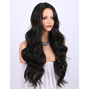 cheap Synthetic Trendy Wigs-Synthetic Wig Wavy Curly Weave Asymmetrical Wig Long Black Synthetic Hair 24 inch Women's Party New Arrival Fashion Black