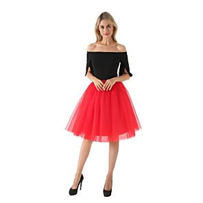 cheap Historical & Vintage Costumes-Petticoat Hoop Skirt Tutu Under Skirt 1950s White Black Red Petticoat / Crinoline
