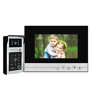 cheap Video Door Phone Systems-7 inch Screen Indoor Monitor Wired Video Door Phone Fingerprint IC Card Password Unlock Video Doorbell Intercom System with Waterproof Night Vision Wide Angle Camera 120