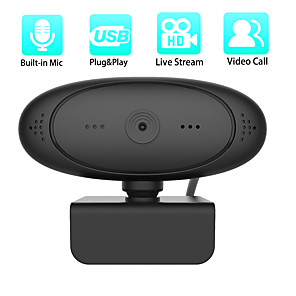 cheap CCTV Cameras-1080P HD Webcam Rotatable Cameras Mini Computer PC WebCamera with Microphone for Live Broadcast Video Recording Conference Work