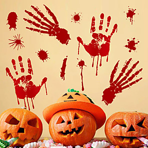 cheap Halloween Toys-Halloween Party Toys Window Sticker Wall Stickers 2 pcs Blood Handprint Mischief PVC Kid's Adults Trick or Treat Halloween Party Favors Supplies