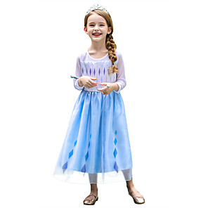 cheap Movie & TV Theme Costumes-Princess Elsa Dress Flower Girl Dress Girls' Movie Cosplay A-Line Slip Blue Dress Cloak Halloween Children's Day Masquerade Polyester