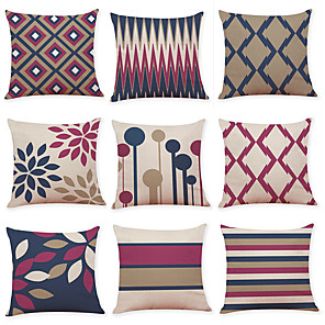 cheap Throw Pillow Covers-1 Set of 9 pcs Modern Geometry Series  Decorative Linen Throw Pillow Cover 18 x 18 inches 45 x 45 cm