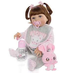 cheap Reborn Doll-KEIUMI 22 inch Reborn Doll Baby & Toddler Toy Reborn Toddler Doll Baby Girl Gift Cute Washable Lovely Parent-Child Interaction Full Body Silicone 23D29-C95-H21-T21 with Clothes and Accessories for