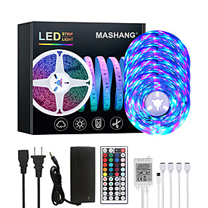 cheap LED Strip Lights-20M LED Strip Lights RGB Tiktok Lights 1200LEDs Flexible Color Change SMD 2835 with 44 Keys IR Remote Controller and 100-240V Adapter for Home Bedroom Kitchen TV Back Lights DIY Deco