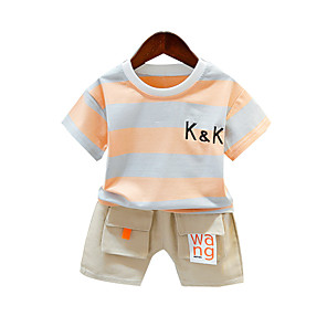 cheap Boys' Clothing Sets-Toddler Boys' Active Basic Daily Wear Vacation Striped Color Block Short Sleeve Regular Clothing Set Yellow