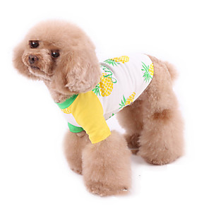 cheap Dog Clothes-Dog Pajamas Vest Fruit Casual / Sporty Cute Sports Casual / Daily Dog Clothes Warm White Costume Cotton XXXS XXS XS S M L