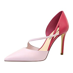 cheap Women's Heels-Women's Heels Summer Stiletto Heel Pointed Toe Daily Solid Colored PU Almond / White / Black