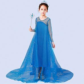 cheap Movie & TV Theme Costumes-Princess Elsa Dress Flower Girl Dress Girls' Movie Cosplay A-Line Slip Blue / White Dress Children's Day Masquerade Tulle Sequin Cotton