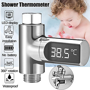 cheap Testers & Detectors-Digital Water Temperature Meter LED Shower Head 0-100 Thermometer Temperature Durabl - Silver