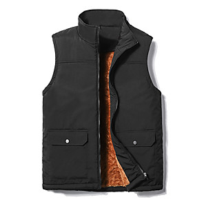 cheap Softshell, Fleece & Hiking Jackets-Men's Hiking Gilet Winter Outdoor Thermal Warm Windproof Breathable Soft Top Fleece Camping / Hiking Hunting Fishing Black / Dark Blue