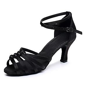 cheap Human Hair Capless Wigs-Women's Dance Shoes Latin Shoes Salsa Shoes Heel Buckle Flared Heel Customizable Black / Brown / Beige