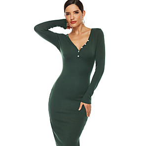cheap Synthetic Trendy Wigs-Women's Sheath Dress Midi Dress - Long Sleeve Solid Color Fall Boat Neck Work Elegant 2020 Black Green Gray S M L XL