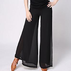 cheap Ballroom Dancewear-Latin Dance Pants Split Joint Women's Training Daily Wear Natural Chiffon