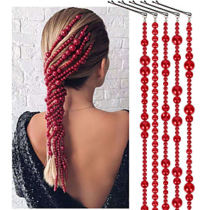 cheap Hair Jewelry-Women's Hair Jewelry For Gift Holiday Street Birthday Party Fashion Classic Imitation Pearl Red 5pcs