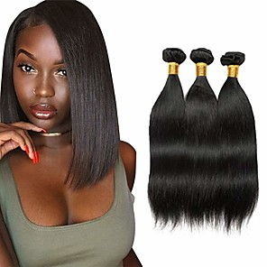 cheap Colored Hair Weaves-3 Bundles Hair Weaves Brazilian Hair Straight Human Hair Extensions Remy Human Hair 100% Remy Hair Weave Bundles 300 g Natural Color Hair Weaves / Hair Bulk Human Hair Extensions 8-28 inch Natural
