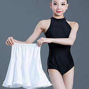 cheap Latin Dancewear-Latin Dance Kids' Dancewear Skirts Pleats Girls' Training Daily Wear Sleeveless Polyester