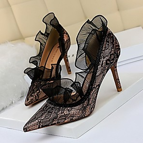 cheap Wedding Shoes-Women's Heels Summer Stiletto Heel Pointed Toe Daily Solid Colored Lace Black / Purple / Champagne