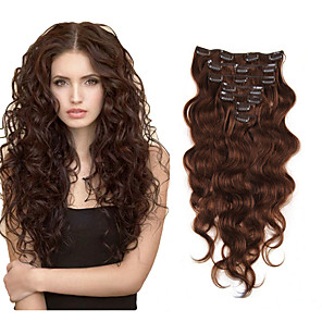 cheap Colored Hair Weaves-Clip In Hair Extensions Human Hair 7 pieces Pack Body Wave 14-22 inch Hair Extensions / 10A