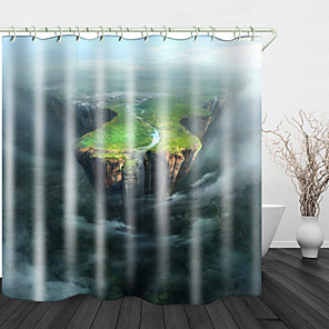 cheap Shower Curtains-Cliff Landscape Digital Print Waterproof Fabric Shower Curtain For Bathroom Home Decor Covered Bathtub Curtains Liner Includes With Hooks