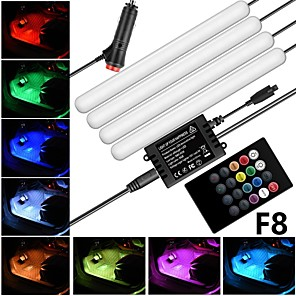 cheap Car Decoration Lights-F8 Cigarette Lighter New Car Atmosphere Lamp Foot Lamp Voice Controlled Atmosphere Lamp LED Decorative Light Strip Car Colorful Music Rhythm Light