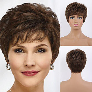 cheap Human Hair Capless Wigs-Remy Human Hair Wig Short Straight Natural Straight Bob Pixie Cut Layered Haircut Asymmetrical Black Brown Women Fashion Natural Hairline Capless Women's All Natural Black #1B Medium Auburn#30 Medium