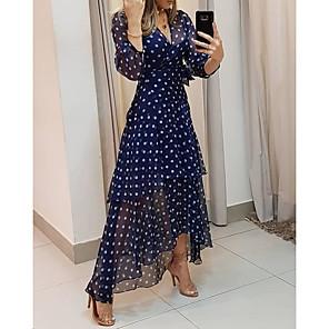 cheap Party Sashes-Women's Sheath Dress Maxi long Dress - 3/4 Length Sleeve Polka Dot Patchwork Summer V Neck Casual Daily 2020 Navy Blue M L XL XXL XXXL