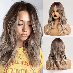 cheap Synthetic Trendy Wigs-Synthetic Wig Wavy Middle Part Wig Long Ombre Brown Synthetic Hair 22 inch Women's Party Fashion Comfortable Brown / Ombre Hair