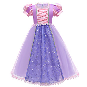 cheap Movie & TV Theme Costumes-Princess Rapunzel Dress Flower Girl Dress Girls' Movie Cosplay A-Line Slip Purple Dress Christmas Halloween Children's Day Polyester