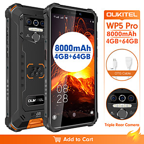 "cheap Cell Phones-OUKITEL OUKITEL  wp5 pro 5.5 inch "" 4G Smartphone ( 4GB + 64GB 13 mp MediaTek MT6761 8000 mAh mAh )"