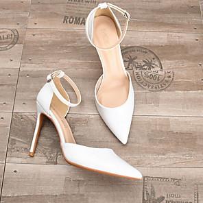 cheap Women's Heels-Women's Heels Summer Stiletto Heel Pointed Toe Daily PU Nude / White / Black