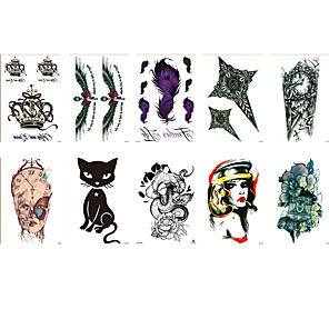 cheap Tattoo Stickers-6 Sheets Randomly Tattoo Designs Temporary Tattoos Waterproof Tattoo Stickers Simulation Clock Cat Bird Woman Crown Flower Design Tattoo Stickers HB531-540