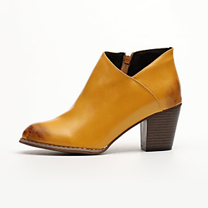 cheap Women's Boots-Women's Boots Cuban Heel Pointed Toe Casual Basic Daily Solid Colored Leather Booties / Ankle Boots Walking Shoes Light Brown / Black / Gray