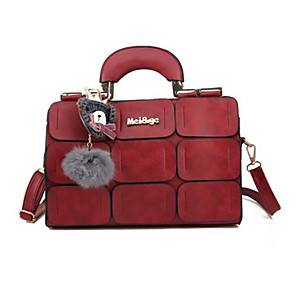 cheap Handbag & Totes-Women's Bags PU Leather Top Handle Bag for Event / Party / Daily Black / Purple / Red