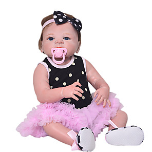 cheap Dolls Accessories-Reborn Baby Dolls Clothes Reborn Doll Accesories Cotton Fabric for 22-24 Inch Reborn Doll Not Include Reborn Doll Princess Skirt Soft Pure Handmade Girls' 3 pcs