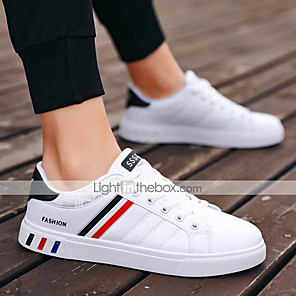 cheap Men's Sneakers-Men's Summer / Fall Casual / Preppy Daily Sneakers Leather Breathable Wear Proof Pink / White / White / Silver / Black