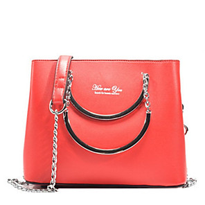 cheap Handbag & Totes-Women's Bags PU Leather Top Handle Bag Zipper for Daily Black / Red