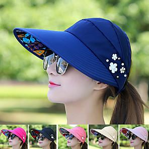 cheap Golf, Tennis & Badminton-Cap Light Yellow Black Red UV Resistant Quick Dry Breathability Women's Floral / Botanical Fashion Canvas
