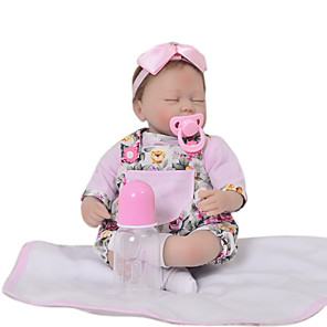 cheap Reborn Doll-KEIUMI 16 inch Reborn Doll Baby & Toddler Toy Reborn Toddler Doll Baby Girl Gift Cute Lovely Parent-Child Interaction Tipped and Sealed Nails 3/4 Silicone Limbs and Cotton Filled Body 17D23-C377-T01