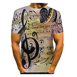cheap Cycling Jerseys-Men's T-shirt Graphic Print Tops Basic Round Neck Khaki / Short Sleeve