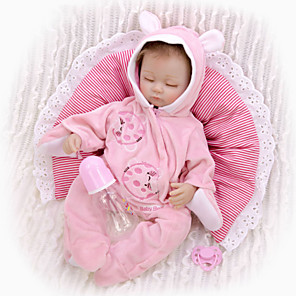 cheap Reborn Doll-KEIUMI 16 inch Reborn Doll Baby & Toddler Toy Reborn Toddler Doll Baby Girl Gift Cute Lovely Parent-Child Interaction Tipped and Sealed Nails 3/4 Silicone Limbs and Cotton Filled Body 17D24-C342-T31
