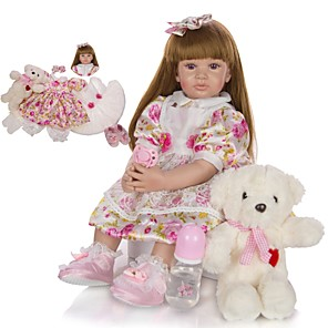 cheap Halloween Toys-KEIUMI 24 inch Reborn Doll Baby & Toddler Toy Reborn Toddler Doll Baby Girl Gift Cute Lovely Parent-Child Interaction Tipped and Sealed Nails Half Silicone and Cloth Body with Clothes and Accessories