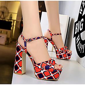 cheap Women's Sandals-Women's Sandals Summer Block Heel Peep Toe Daily Geometric Satin Red / Green