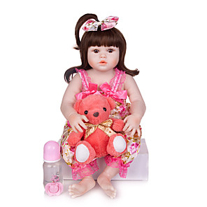 cheap Toy Cars-KEIUMI 22 inch Reborn Doll Baby & Toddler Toy Reborn Toddler Doll Baby Girl Gift Cute Washable Lovely Parent-Child Interaction Full Body Silicone 23D123-C100-H113-S24-T14 with Clothes and Accessories