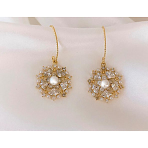 cheap Earrings-Women's Drop Earrings Hollow Out Snowflake Love Classic Vintage Earrings Jewelry Gold For Gift Daily 1 Pair