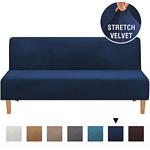 cheap Sofa Cover-Sofa Cover Futon Cover Furniture Protector Velvet Slipcover Armless Sofa Cover Without Armrests Slipcover Sofa Bed  Cover Fit For Futon Lenth between 68''-85'' Width between 28''-48''
