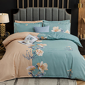 cheap Throw Pillow Covers-4-Pieces Bedding Set Flower Print Duvet Cover Set Ultra Soft and Easy Care, Bedding Queen Size Set