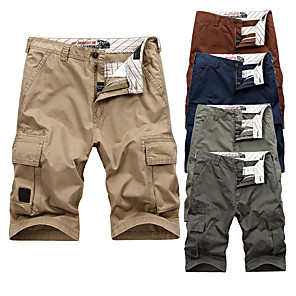 "cheap Hiking Trousers & Shorts-Men's Hiking Shorts Hiking Cargo Shorts Summer Outdoor 10"" Relaxed Fit Breathable Soft Comfortable Wear Resistance Cotton Shorts Bottoms Red Hunter Green Blue Khaki Light Green Camping / Hiking"